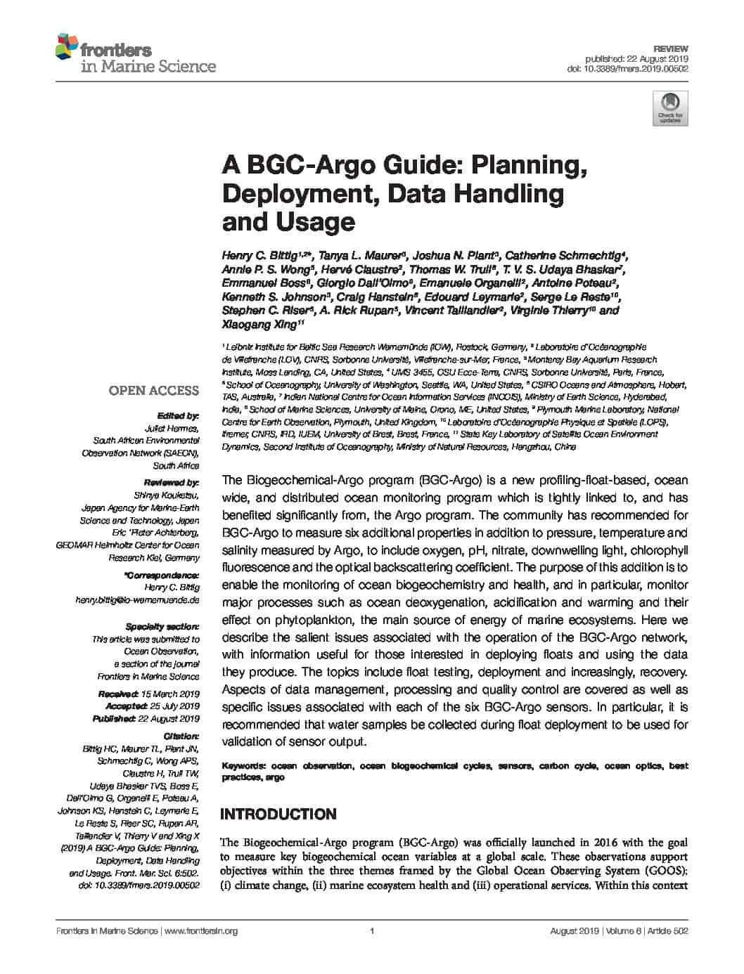 A BGC-Argo Guide: Planning, Deployment, Data Handling and Usage